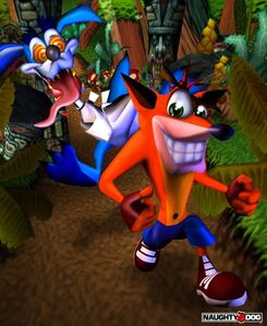 Promotional artwork with Ripper Roo and Crash Bandicoot