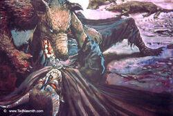 Ted Nasmith - Huan Subdues Sauron