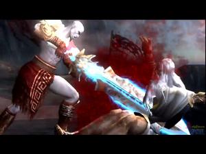 Kratos stabs Zeus