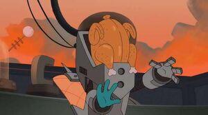 Platyborg with a turkey on his heard by cpadil-d5nzgtk