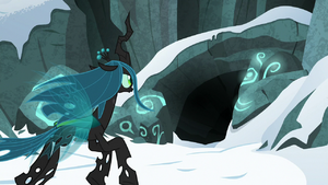 Queen Chrysalis flying toward the cave S9E8