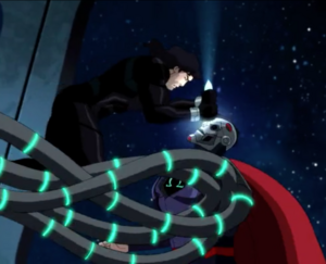 Superman defeating Cyborg Superman