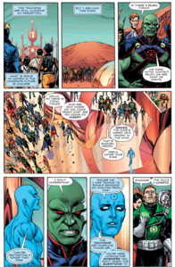 Doctor Manhattan surrounded by Earth-0 DC heroes