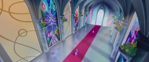 Twilight and Spike in the castle corridor MLPTM (1)