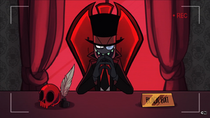 Black Hat in his desk