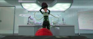 Doctor Octopus tying her hair up.