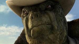 Tortoise John giving Rango a warning
