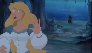 Odette hears Rothbart tell her she'll turn back to a swan at sunrise