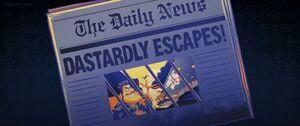 Dick Dastardly's prison escape on the newspaper
