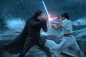 Rey vs. Kylo on the Death Star ruins