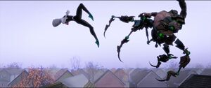 Spider-Woman kicking Scorpion