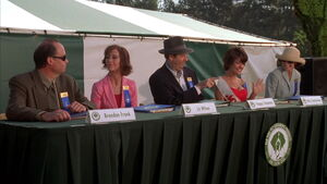 Chapman as a judge at the dog show