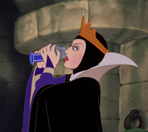 The Queen drinking a magic potion