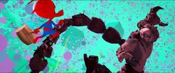 Spider-Ham climbing Scorpion's tail