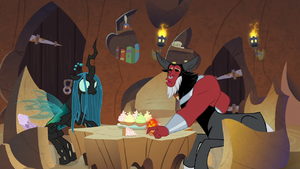 Lord Tirek sets his cupcake down S9E8