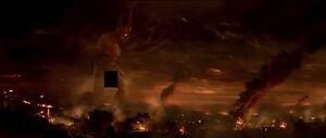 Gigantic Satan approaching Seth and Jay