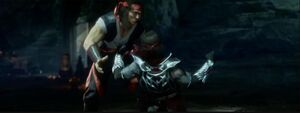 Liu Kang fighting against his revenant self.