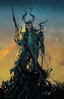 Loki Laufeyson (Ikol) (Earth-14412) and All-Black (Klyntar) (Earth-616) from Thor Vol 5 6 001