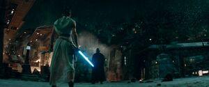 Rey faces Kylo through the bond