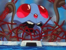 Tentacruel destroying Nastina's hotel