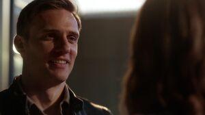 Hunter flirts with Caitlin