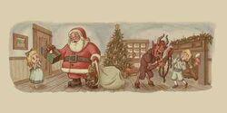 Krampus and Santa Claus