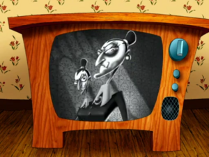 The Stitch Sisters seen on the TV screen at the beginning of the show