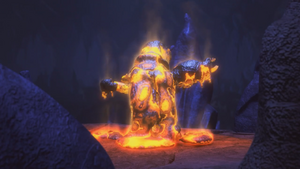 Iron Baron was imprisoned in a molten rock.