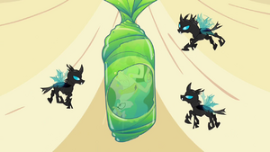 Three changelings with Princess Celestia in a giant green coccon