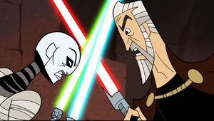 Asajj dueling Dooku