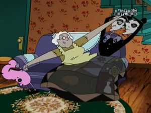 Courage trying to save Muriel from the Stitch Sisters