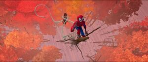 Doctor Octopus chasing Miles up a tree