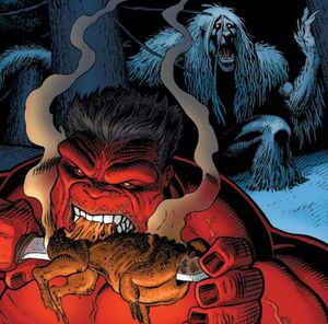 Red Hulk vs Wendigo 01