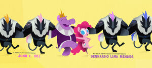 Pinkie in a kickline with the Queen of the Hippos MLPTM