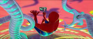 Doctor Octopus preventing Peter B. Parker from using the USB