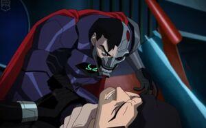 Cyborg Superman choking Superman