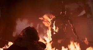 T-800 rises from flames baby