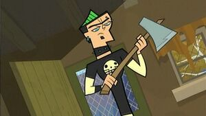 Duncan is about to crush an insect with an axe