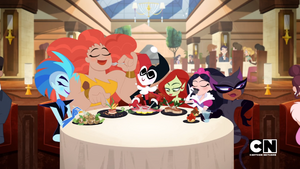 Super Villain Girls having dinner at the Metropolis Restaurant