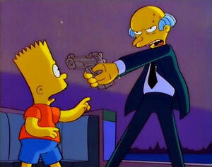 Mr. Burns threatening to shoot Bart