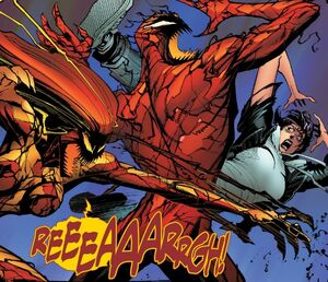 Andrea Benton (Earth-616), Patricia Robertson (Earth-616), Scream (Klyntar) (Earth-616), and Cletus Kasady (Earth-616) from Absolute CarnageScream Vol 1 3 0002