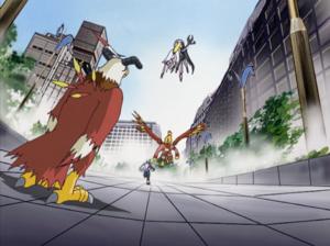 Aquilamon, WereGarurumon, Garudamon, Angewomon vs LadyDevimon