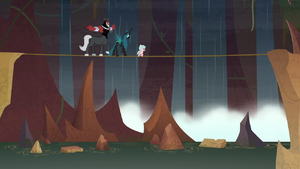 Cozy, Chrysalis, and Tirek on a tightrope S9E8