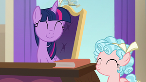 Twilight and Cozy Glow smiling together S8E16
