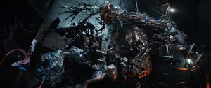 Edward Brock, Venom (Klyntar), Carlton Drake and Riot (Klyntar) (Earth-TRN688) from Venom (film) 002