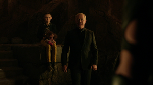 Nora with her father a few moments before his death