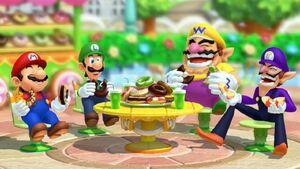 Mario Luigi Wario and Waluigi eating doughnuts