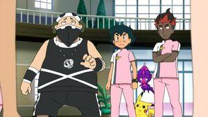 Ash, Zipp, Kiawe, Pikachu and Poipole
