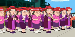 Old Ladies With Red Hats and Purple Dresses