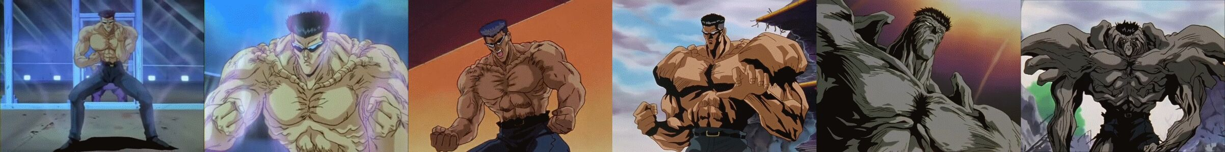 Toguro's power in the order of 30%, 45%, 60%, 80%, 100%, and 120%.